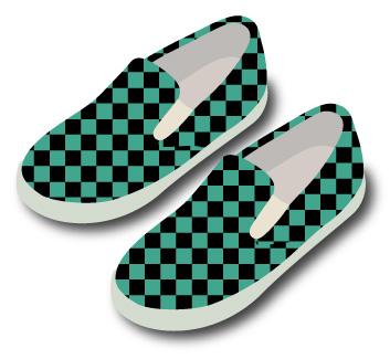 市松パターンの靴