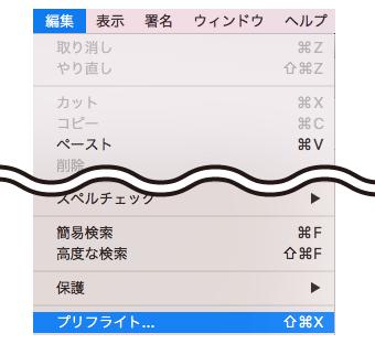 編集→プリフライト