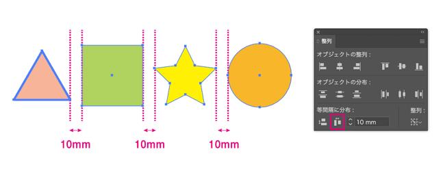 10mmで等間隔に分布