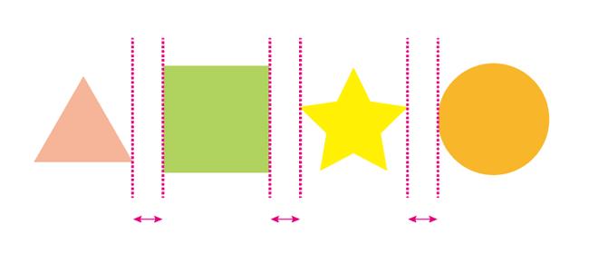 水平方向等間隔に配置の例2