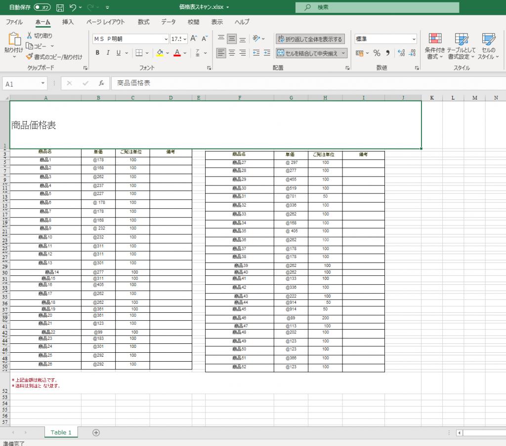 スキャンPDFから変換したエクセルデータ