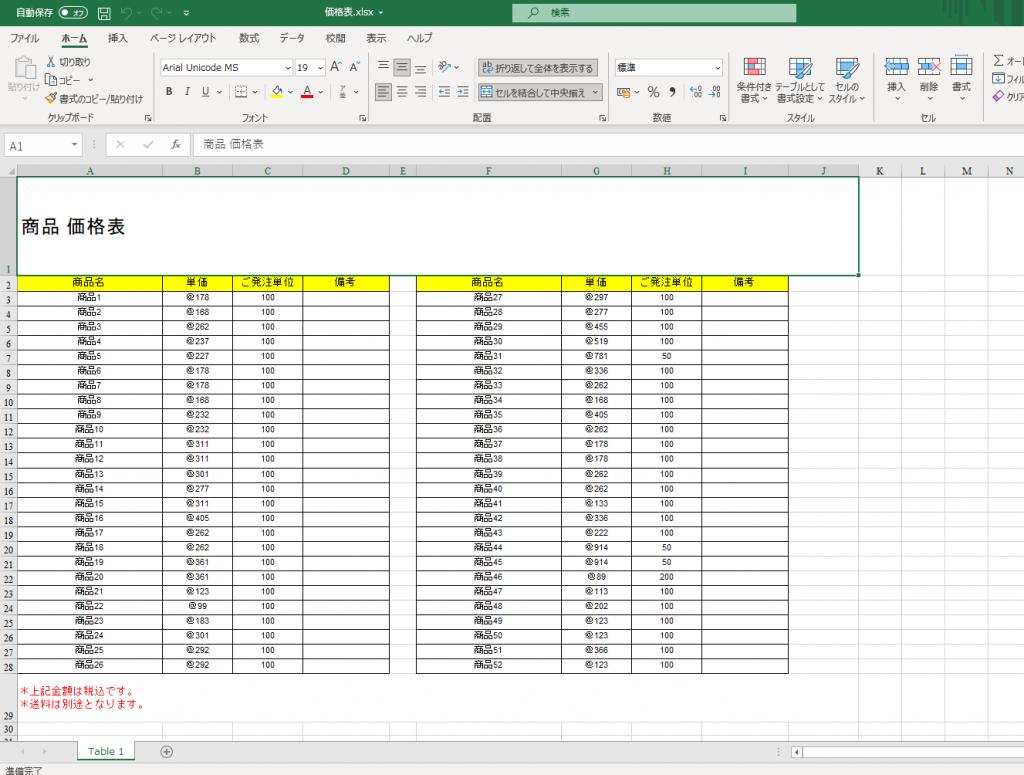 PDFから変換したエクセルデータ